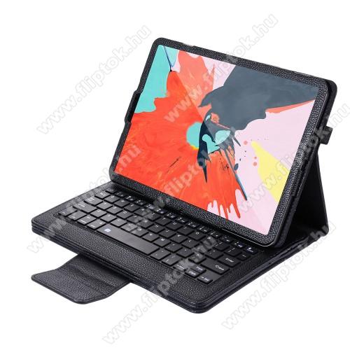 Notesz / mappa tok - FEKETE - oldalra nyíló, mágneses záródás, asztali tartó funkció, műbőr belső, tolltartó, bluetooth billentyűzet (ANGOL KIOSZTÁSÚ!) - APPLE iPad Pro 11 (2018)