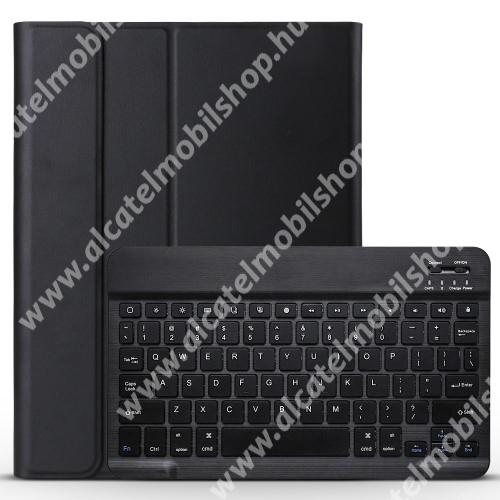 Notesz / mappa tok - FEKETE - oldalra nyíló, mágneses záródás, asztali tartó funkció, műanyag belső, kivehető bluetooth billentyűzet (ANGOL KIOSZTÁSÚ!) - APPLE iPad Pro 11 (2018)