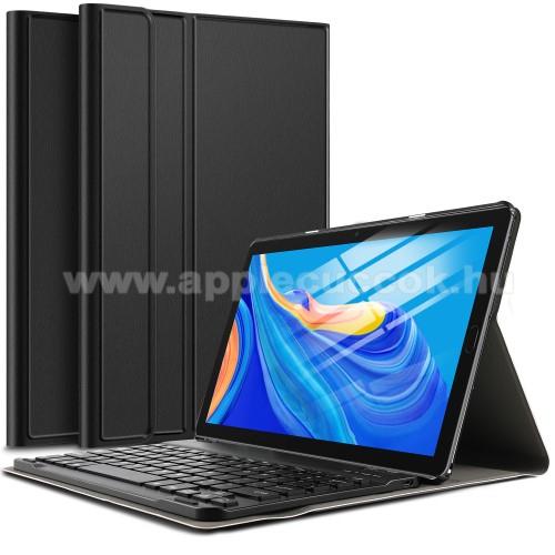 Notesz / mappa tok - FEKETE - oldalra nyíló, mágneses záródás, asztali tartó funkció, kivehető bluetooth billentyűzet (ANGOL KIOSZTÁSÚ!) - HUAWEI MediaPad M6 10.8