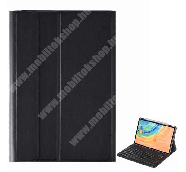 Notesz / mappa tok - FEKETE - oldalra nyíló, mágneses záródás, asztali tartó funkció, kivehető bluetooth billentyűzet (ANGOL KIOSZTÁSÚ!) - HUAWEI MatePad Pro / HUAWEI MatePad Pro 5G