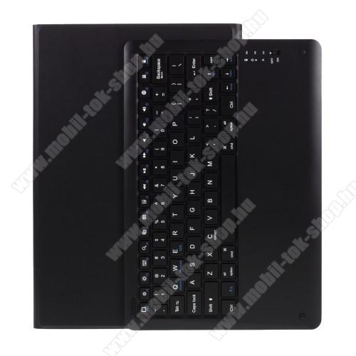 Notesz / mappa tok - FEKETE - oldalra nyíló, mágneses záródás, asztali tartó funkció, kivehető bluetooth billentyűzet (ANGOL KIOSZTÁSÚ!) - SAMSUNG Galaxy Tab S7 Plus (SM-T970/T976B)
