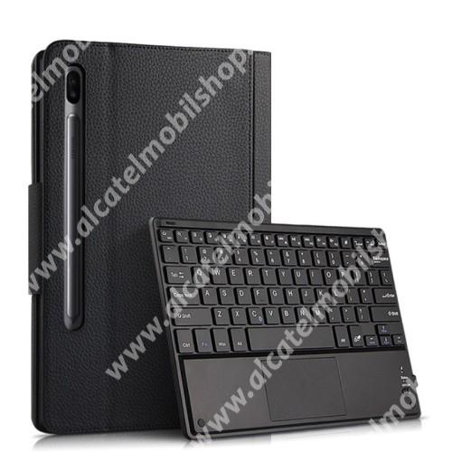 Notesz / mappa tok - FEKETE - oldalra nyíló, mágneses záródás, asztali tartó funkció, TOUCHPAD, kivehető bluetooth billentyűzet (ANGOL KIOSZTÁSÚ!) - SAMSUNG SM-T860 Galaxy Tab S6 (Wi-Fi) / SAMSUNG SM-T865 Galaxy Tab S6 (LTE)