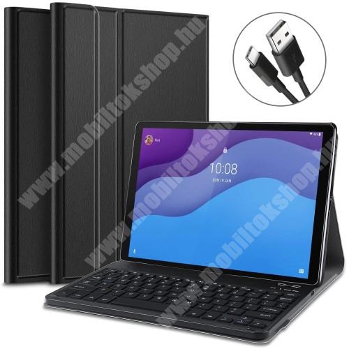 Notesz / mappa tok - FEKETE - oldalra nyíló, mágneses záródás, asztali tartó funkció, szilikon belső, kivehető bluetooth billentyűzet (ANGOL KIOSZTÁSÚ!) - Lenovo Tab M10 HD Gen 2 (TB-X306F)