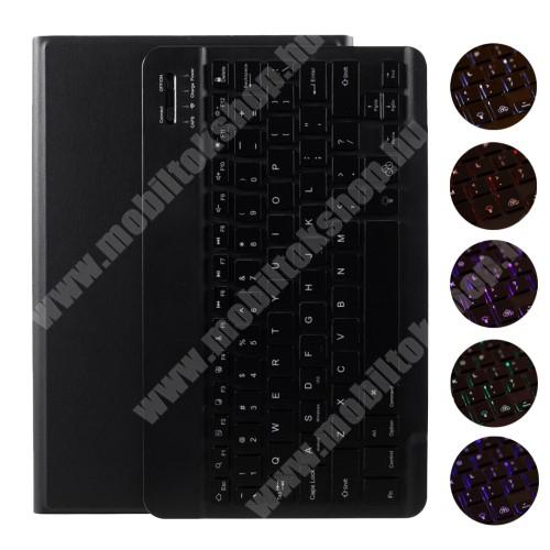 Notesz / mappa tok - FEKETE - oldalra nyíló, mágneses záródás, asztali tartó funkció, RGB háttérvilágítás, kivehető bluetooth billentyűzet (ANGOL KIOSZTÁSÚ!) - Lenovo Tab M10 Plus (TB-X606F)