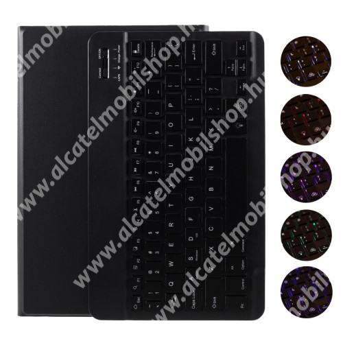 Notesz / mappa tok - FEKETE - oldalra nyíló, mágneses záródás, asztali tartó funkció, RGB háttérvilágítás, kivehető bluetooth billentyűzet (ANGOL KIOSZTÁSÚ!) - SAMSUNG Galaxy Tab A 10.1 (2019) (SM-T510) / (SM-T515)