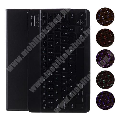 Notesz / mappa tok - FEKETE - oldalra nyíló, mágneses záródás, RGB háttérvilágítás, asztali tartó funkció, kivehető bluetooth billentyűzet (ANGOL KIOSZTÁSÚ!), szilikon belső - Lenovo Tab M10 HD Gen 2 (TB-X306F)