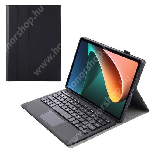 Notesz / mappa tok - FEKETE - oldalra nyíló, mágneses záródás, asztali tartó funkció, TOUCHPAD, kivehető bluetooth billentyűzet (ANGOL KIOSZTÁSÚ!), szilikon belső - Xiaomi Pad 5 / Pad 5 Pro