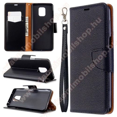 Notesz / mappa tok - FEKETE - oldalra nyíló, rejtett mágneses záródás, bankkártyatartó zseb, asztali tartó funkció, szilikon belső - Xiaomi Redmi Note 9S / Note 9 Pro / 9 Pro Max