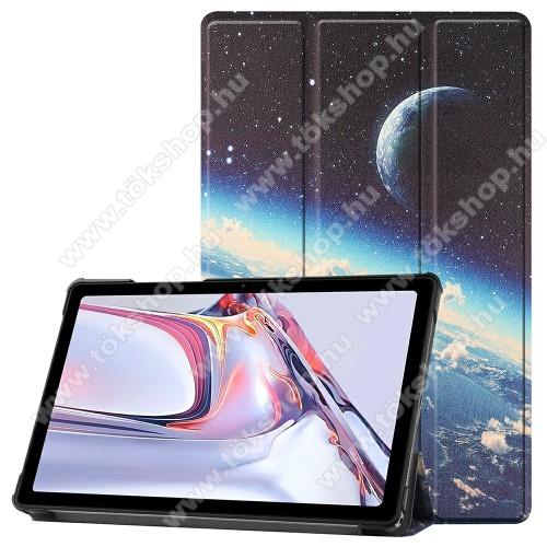Notesz / mappa tok - GALAXIS / BOLYGÓ MINTÁS - oldalra nyíló flip cover, TRIFOLD asztali tartó funkció, mágneses záródás, műanyag belső - SAMSUNG Galaxy Tab A7 10.4 (2020) (SM-T500/SM-T505)