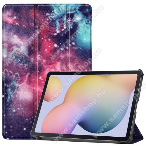 SAMSUNG Galaxy Tab S7 (SM-T870/T875/T876B)Notesz / mappa tok - GALAXIS MINTÁS - oldalra nyíló flip cover, TRIFOLD asztali tartó funkció, műanyag belső, ERŐSÍTETT SARKOKKAL! - SAMSUNG Galaxy Tab S7 (SM-T870/T875/T876B)