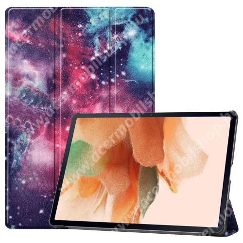 Notesz / mappa tok - GALAXIS MINTÁS - oldalra nyíló flip cover, TRIFOLD asztali tartó funkció, mágneses záródás, ceruzatartó, erősített sarkok, műanyag belső - SAMSUNG Galaxy Tab S7 FE (SM-T730) / Galaxy Tab S7 FE 5G (SM-T736)