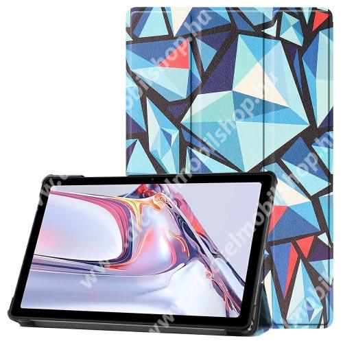 Notesz / mappa tok - GEOMETRIA MINTÁS - oldalra nyíló flip cover, TRIFOLD asztali tartó funkció, mágneses záródás, műanyag belső - SAMSUNG Galaxy Tab A7 10.4 (2020) (SM-T500/SM-T505)