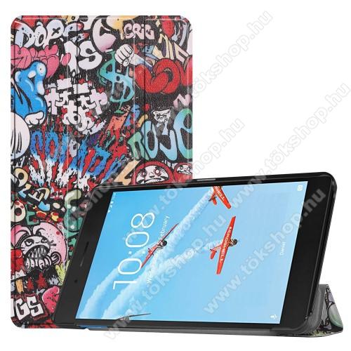 Notesz / mappa tok - GRAFFITI MINTÁS - oldalra nyíló flip cover, TRIFOLD asztali tartó funkciós, mágneses záródás, műanyag belső - Lenovo Tab E7 (TB-7104F)