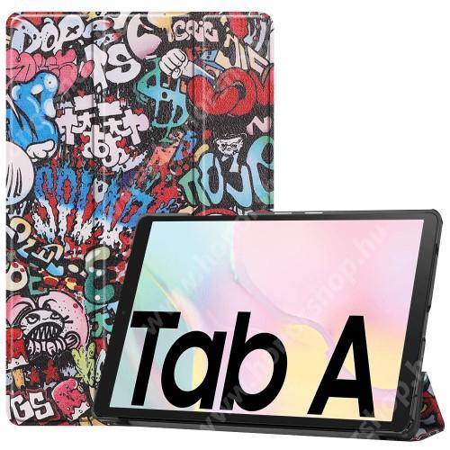Notesz / mappa tok - GRAFFITI MINTÁS - oldalra nyíló flip cover, TRIFOLD asztali tartó funkció, mágneses záródás, műanyag belső - SAMSUNG Galaxy Tab A7 10.4 (2020) (SM-T500/SM-T505)