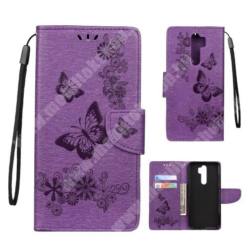 Notesz / mappa tok - GRAVÍROZOTT PILLANGÓ / VIRÁG MINTÁS - LILA - oldalra nyíló, rejtett mágneses záródás, belső zseb, asztali tartó funkció, szilikon belső - Xiaomi Redmi Note 8 Pro
