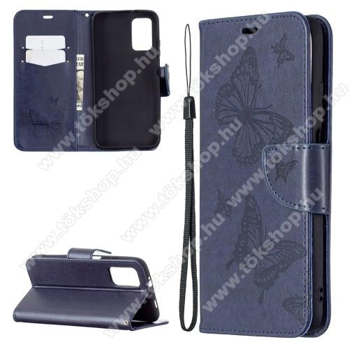 Notesz / mappa tok - GRAVÍROZOTT PILLANGÓ / VIRÁG MINTÁS - KÉK - oldalra nyíló, rejtett mágneses záródás, belső zseb, asztali tartó funkció, szilikon belső - Xiaomi Poco M3 / Redmi 9T / Redmi 9 Power