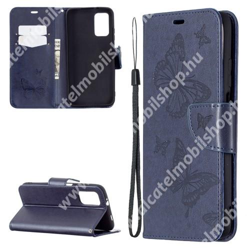 Notesz / mappa tok - GRAVÍROZOTT PILLANGÓ / VIRÁG MINTÁS - KÉK - oldalra nyíló, rejtett mágneses záródás, belső zseb, asztali tartó funkció, szilikon belső - Xiaomi Poco M3