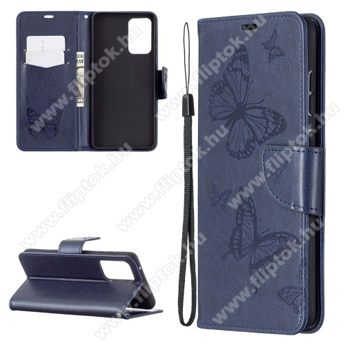 Notesz / mappa tok - GRAVÍROZOTT PILLANGÓ / VIRÁG MINTÁS - SÖTÉTKÉK - oldalra nyíló, rejtett mágneses záródás, belső zseb, asztali tartó funkció, szilikon belső - SAMSUNG Galaxy A72 5G (SM-A726F) / Galaxy A72 4G (SM-A725F)