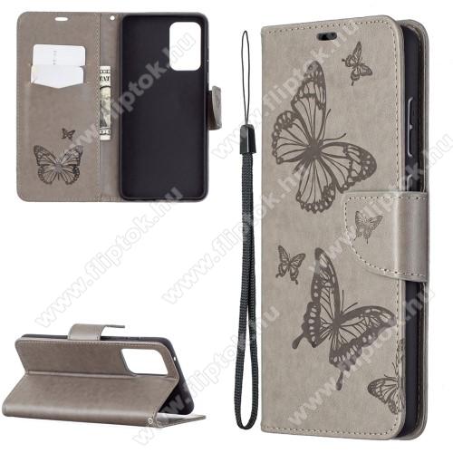 Notesz / mappa tok - GRAVÍROZOTT PILLANGÓ / VIRÁG MINTÁS - SZÜRKE - oldalra nyíló, rejtett mágneses záródás, belső zseb, asztali tartó funkció, szilikon belső - SAMSUNG Galaxy A72 5G (SM-A726F) / Galaxy A72 4G (SM-A725F)