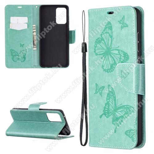 Notesz / mappa tok - GRAVÍROZOTT PILLANGÓ / VIRÁG MINTÁS - ZÖLD - oldalra nyíló, rejtett mágneses záródás, belső zseb, asztali tartó funkció, szilikon belső - SAMSUNG Galaxy A72 5G (SM-A726F) / Galaxy A72 4G (SM-A725F)