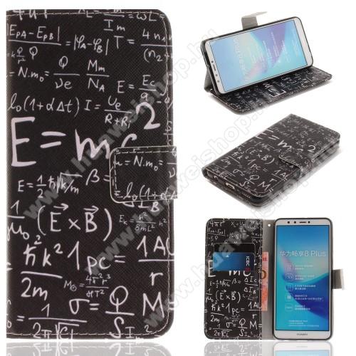Notesz / mappa tok - ISKOLATÁBLA MINTÁS - oldalra nyíló, rejtett mágneses záródás, belső zseb, asztali tartó funkció, szilikon belső - HUAWEI Y9 (2018) / HUAWEI Enjoy 8 Plus
