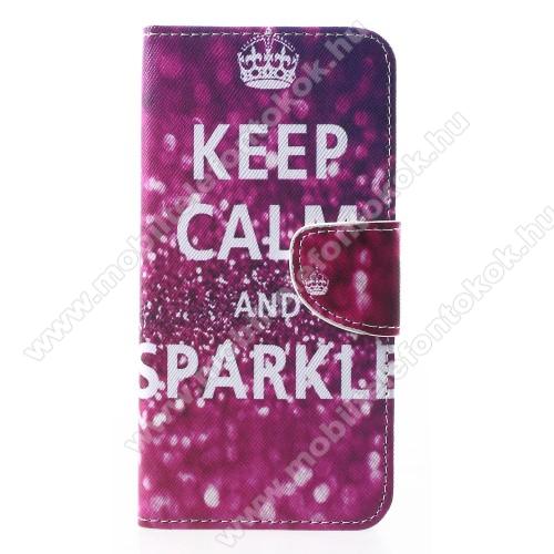 APPLE iPhone XrNotesz / mappa tok - Keep Calm And Sparkle MINTÁS - oldalra nyíló, rejtett mágneses záródás, belső zseb, asztali tartó funkció, szilikon belső - APPLE iPhone Xr