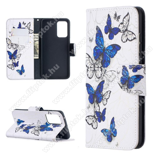 Notesz / mappa tok - KÉK / FEHÉR PILLANGÓ MINTÁS - oldalra nyíló, rejtett mágneses záródás, belső zseb, asztali tartó funkció, szilikon belső - SAMSUNG Galaxy A52 5G (SM-A526F) / Galaxy A52 4G (SM-A525F)