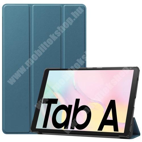 Notesz / mappa tok - KÉK - oldalra nyíló flip cover, TRIFOLD asztali tartó funkciós, mágneses záródás, műanyag belső - SAMSUNG Galaxy Tab A7 10.4 (2020) (SM-T500/SM-T505)