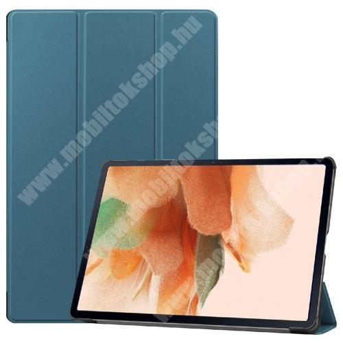 Notesz / mappa tok - KÉK - oldalra nyíló flip cover, TRIFOLD asztali tartó funkciós, erősített sarkok, mágneses záródás, ceruzatartó, műanyag belső - SAMSUNG Galaxy Tab S7 FE (SM-T730) / Galaxy Tab S7 FE 5G (SM-T736)
