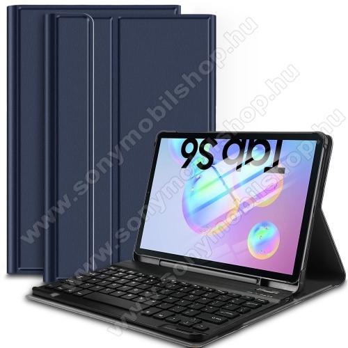 Notesz / mappa tok - KÉK - oldalra nyíló, mágneses záródás, asztali tartó funkció, kivehető bluetooth billentyűzet (ANGOL KIOSZTÁSÚ!) - SAMSUNG SM-T860 Galaxy Tab S6 (Wi-Fi) / SAMSUNG SM-T865 Galaxy Tab S6 (LTE)