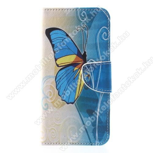 APPLE iPhone XrNotesz / mappa tok - KÉK PILLANGÓ MINTÁS - oldalra nyíló, rejtett mágneses záródás, belső zseb, asztali tartó funkció, szilikon belső - APPLE iPhone Xr