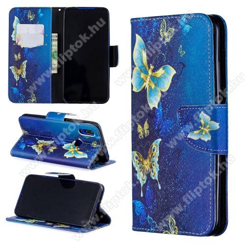 Notesz / mappa tok - KÉK PILLANGÓ MINTÁS - oldalra nyíló, rejtett mágneses záródás, belső zseb, asztali tartó funkció, szilikon belső - Xiaomi Redmi 7 / Xiaomi Redmi Y3