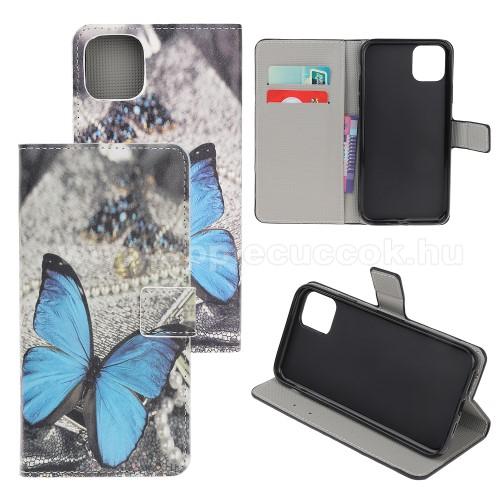 Notesz / mappa tok - KÉK PILLANGÓ MINTÁS - oldalra nyíló, rejtett mágneses záródás, belső zseb, asztali tartó funkció, szilikon belső - APPLE iPhone 11