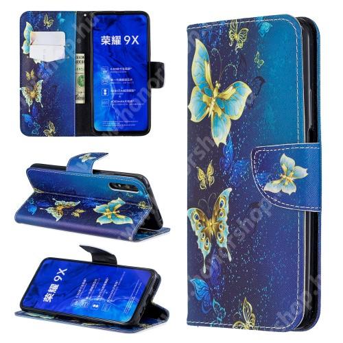 HUAWEI Honor 9X (For China market)Notesz / mappa tok - KÉK PILLANGÓ MINTÁS - oldalra nyíló, rejtett mágneses záródás, belső zseb, asztali tartó funkció, szilikon belső - HUAWEI P smart Pro (2019) / HUAWEI Y9s / Honor 9X (For China market) / Honor 9X Pro (For China)