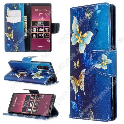 Notesz / mappa tok - KÉK PILLANGÓ MINTÁS - oldalra nyíló, rejtett mágneses záródás, belső zseb, asztali tartó funkció, szilikon belső - Sony Xperia 5