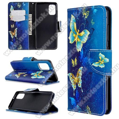 Notesz / mappa tok - KÉK PILLANGÓ MINTÁS - oldalra nyíló, rejtett mágneses záródás, belső zseb, asztali tartó funkció, szilikon belső - SAMSUNG Galaxy A41 (SM-A415F)