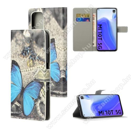 Notesz / mappa tok - KÉK PILLANGÓ MINTÁS - oldalra nyíló, rejtett mágneses záródás, belső zseb, asztali tartó funkció, szilikon belső - Xiaomi Mi 10T 5G / Mi 10T Pro 5G / Redmi K30S