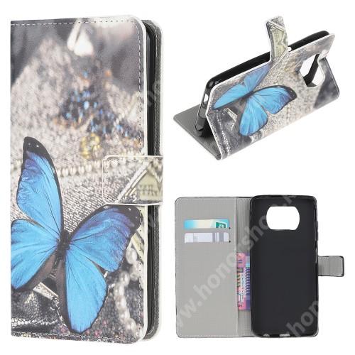 Notesz / mappa tok - KÉK PILLANGÓ MINTÁS - oldalra nyíló, rejtett mágneses záródás, bankkártyatartó zseb, asztali tartó funkció, szilikon belső - Xiaomi Poco X3 / Poco X3 NFC / Poco X3 Pro