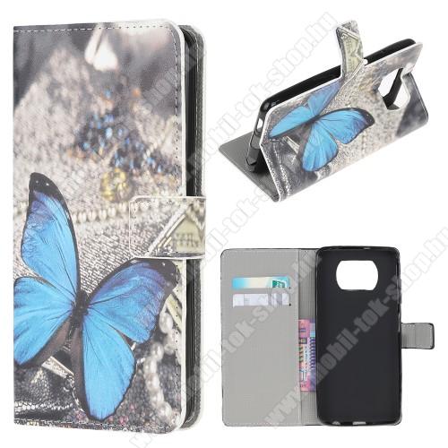 Notesz / mappa tok - KÉK PILLANGÓ MINTÁS - oldalra nyíló, rejtett mágneses záródás, bankkártyatartó zseb, asztali tartó funkció, szilikon belső - Xiaomi Poco X3 / Poco X3 NFC