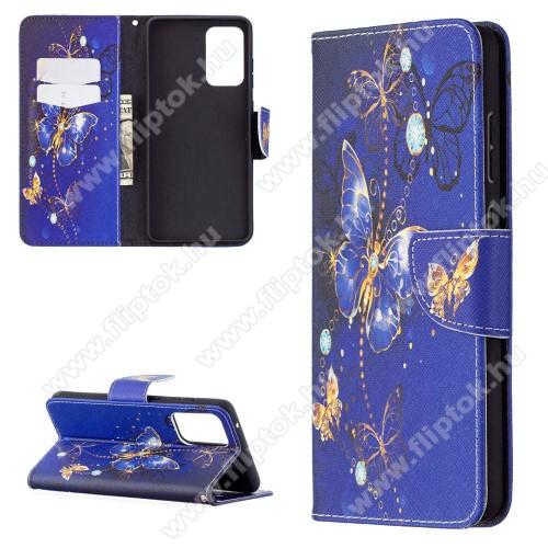 Notesz / mappa tok - KÉK PILLANGÓ MINTÁS - oldalra nyíló, rejtett mágneses záródás, belső zseb, asztali tartó funkció, szilikon belső - SAMSUNG Galaxy A72 5G (SM-A726F) / Galaxy A72 4G (SM-A725F)
