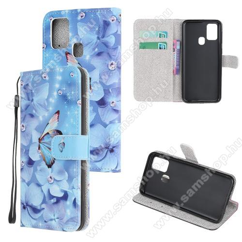 Notesz / mappa tok - KÉK VIRÁG ÉS LEPKE MINTÁS - oldalra nyíló, rejtett mágneses záródás, belső zseb, asztali tartó funkció, szilikon belső - SAMSUNG Galaxy A21s (SM-A217F/DS)