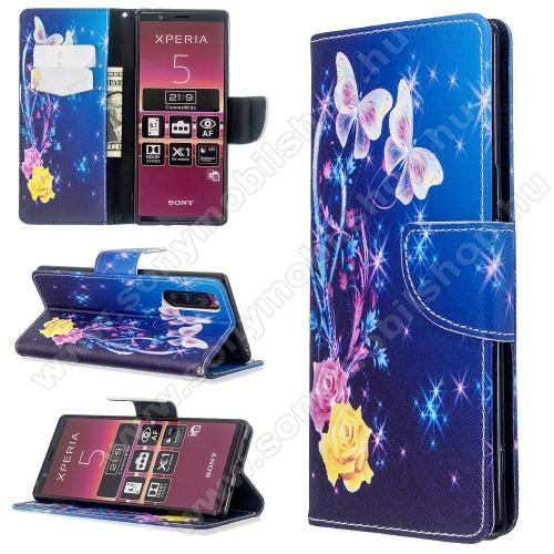 Notesz / mappa tok - KÉK VIRÁG, PILLANGÓ MINTÁS - oldalra nyíló, rejtett mágneses záródás, belső zseb, asztali tartó funkció, szilikon belső - Sony Xperia 5