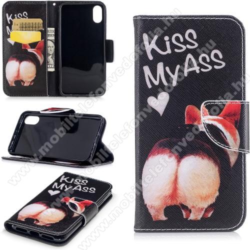 Notesz / mappa tok - Kiss My Ass MINTÁS - oldalra nyíló, rejtett mágneses záródás, belső zseb, asztali tartó funkció, szilikon belső - APPLE iPhone X / APPLE iPhone XS