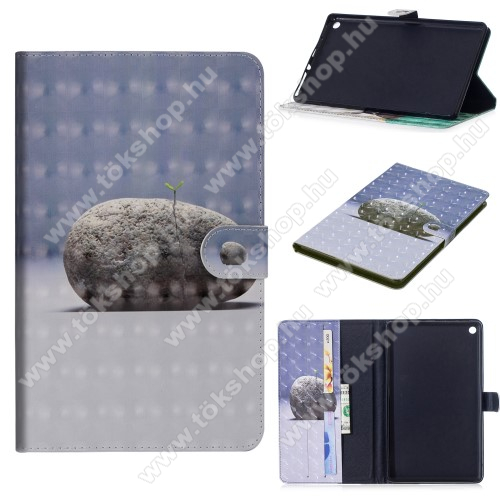 Notesz / mappa tok - KŐ MINTÁS - oldalra nyíló, rejtett mágneses záródás, belső zseb, asztali tartó funkció, szilikon belső - HUAWEI MediaPad M5 10 (2018) / HUAWEI MediaPad M5 10 Pro (2018)