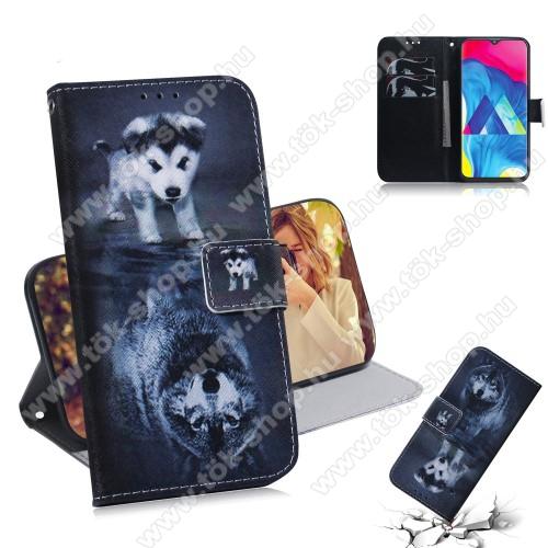 Notesz / mappa tok - KUTYA / FARKAS MINTÁS - oldalra nyíló, rejtett mágneses záródás, belső zseb, asztali tartó funkció, szilikon belső - SAMSUNG SM-M105F Galaxy M10