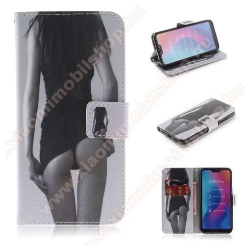 Notesz / mappa tok - LÁNY MINTÁS - oldalra nyíló, rejtett mágneses záródás, belső zseb, asztali tartó funkció, szilikon belső - Xiaomi Redmi 6 Pro / Xiaomi Mi A2 Lite