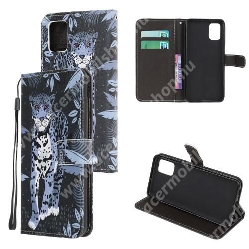 Notesz / mappa tok - LEOPÁRD MINTÁS - oldalra nyíló, rejtett mágneses záródás, belső zseb, asztali tartó funkció, szilikon belső - SAMSUNG Galaxy A41 (SM-A415F)