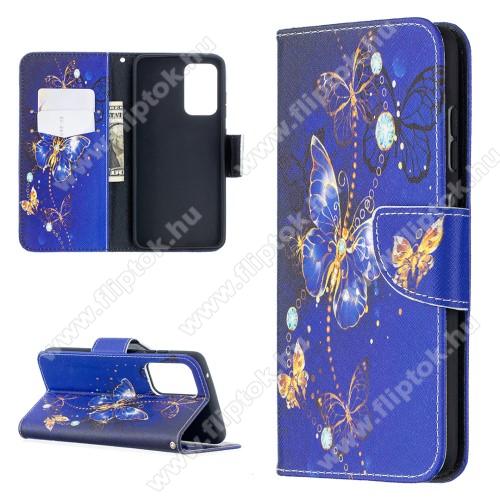 Notesz / mappa tok - LILA / ARANY PILLANGÓ MINTÁS - oldalra nyíló, rejtett mágneses záródás, belső zseb, asztali tartó funkció, szilikon belső - SAMSUNG Galaxy A52 5G (SM-A526F) / Galaxy A52 4G (SM-A525F)
