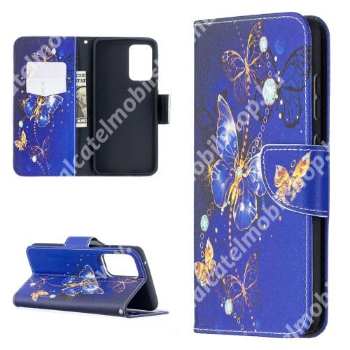 Notesz / mappa tok - LILA / ARANY PILLANGÓ MINTÁS - oldalra nyíló, rejtett mágneses záródás, belső zseb, asztali tartó funkció, szilikon belső - SAMSUNG Galaxy A52 5G (SM-A526F) / A52 4G (SM-A525F) / A52s 5G (SM-A528B / SM-A528B/DS)
