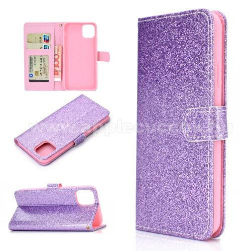 Notesz / mappa tok - LILA - csillogó, flitteres, oldalra nyíló, rejtett mágneses záródás, belső zseb, asztali tartó funkció, szilikon belső - APPLE iPhone 11